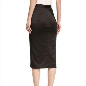 Beautiful Zac Posen Black Satin Pencil Skirt 8 NWT
